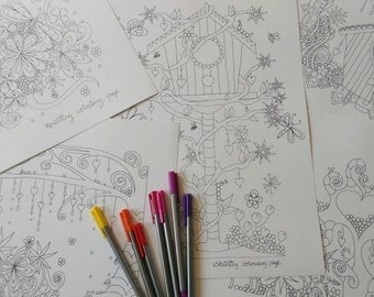 colouring pages pack. A3 artist designed colouring.