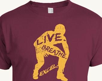 Wrestling T-shirt, Live. Breathe. Excel. in a wrestler outline, inspirational sport design
