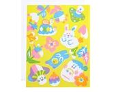 Rabbit and snail yellow screenprinted card