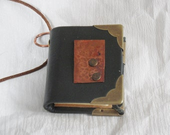 Little copper and leather bound  journal pendant