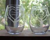 I Am My Beloved's/Ani Ledodi V' Dodi Li Wedding/Anniversary Stemless Wine Glasses