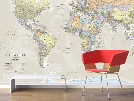 Giant world map mural classic home decor living room for Classic world map wall mural
