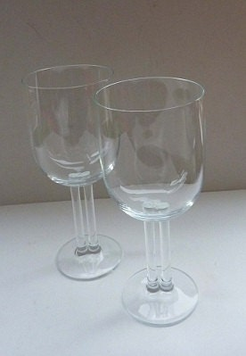 Rosenthal Cupola Wine Glasses Unusual Double Stems Rare