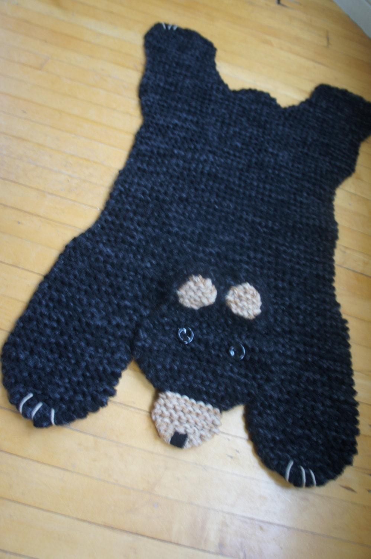 Bear Rug Knitting Pattern : Hand knit inch black bear rug mat blanket by wolverineknits