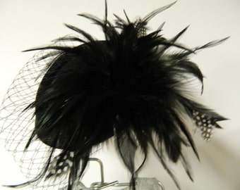 Vintage inspired black feather oval fascinator hat