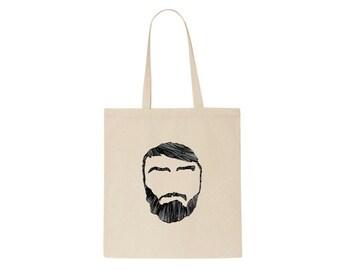 Bearded Man Illustration Tote Bag.