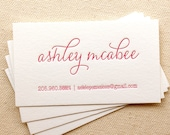 Letterpress Business Cards, Calling Card, Custom, Calligraphy, Mommy Cards, Event Planner, Logo, Script, Simple, Affordable, pink