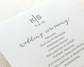 Letterpress Wedding Ceremony Programs - 1 color - Custom, modern, calligraphy, gold, blush, Script, Swirls, Simple, Grey, Monogram, Black