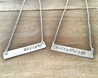 Bar Necklace - name personalized necklace mommy jewelry name necklace
