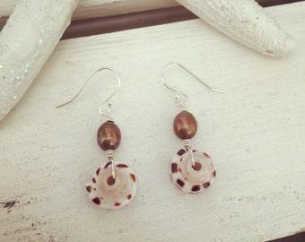 Puka Shell Earrings, Pearl Shell Earrings, Bronze Pearl