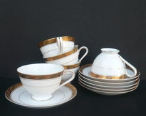 SALE〜Set of 5 Sango Imperial Deluxe Cup And Saucer Sets in CLEOPATRA© / Gold Trim / Made in Japan / Kitchen and Dining / Serving