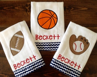 Baseball, Basketball or Football Personalized Sports Burp Cloth