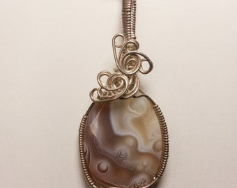 Agate Sterling Silver Wire Wrapped Pendant
