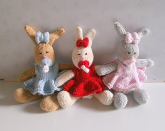 Hand Knitted  Cottton Bunny with a Dummy - Ready to Ship!