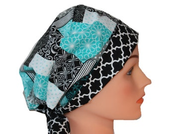 Scrub Hat Surgical Scrub Cap Chemo Hat Flirty Front Fold Pixie Blue Teal Patchwork Grey  2nd Item Ships FREE