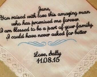 Mother of The Groom Wedding Handkerchief - Mother in law to bride - Hankerchief Wedding -  with design- Wedding - Hanky - Hankie