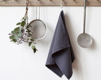 Dark Grey Stone Washed Linen Tea Towel
