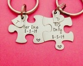 Personalized Puzzle Piece Key Chain Set His and Hers Her One His Only Gift For Him or her customizeable key chain set Hand stamped