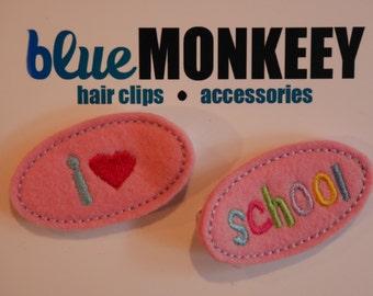 I Love School Hair Clip Set