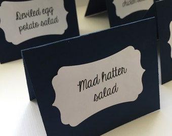 Navy and white food labels - set of 8