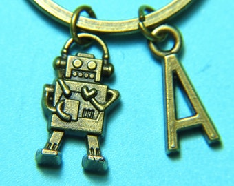 Antique Bronze Robot Keychain Robot Key Ring Robot Charm with Personalized Customized Monogram  Initial Letter A-Z Charm Keychain