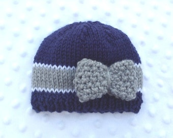 Navy Blue Baby Hat with Bow, Blue and Gray Football Baby Hat, Navy Blue Gray Newborn Hat, Navy Blue Gray Photo Prop, Blue Gray Baby Girl Hat