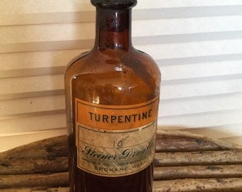 Early Antique Turpentine Brown Bottle