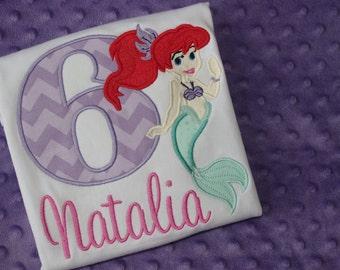 Little Mermaid Birthday Shirt- Ariel Applique