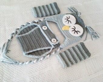 Ultimate Baby Sleepy Owl Hat, Diaper Cover, & Legwarmer Set - 0 to 3 Months, 3 to 6 Months, 6 to 12 Months - Silver Blue, Silver Grey
