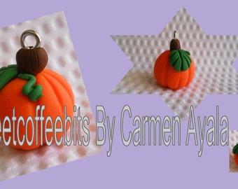 Pumpkin Polymer Clay Charm (Ready to Ship)