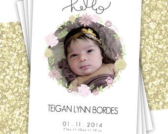 hello - 5 x 7 Baby Girl Birth Announcement - Digital File