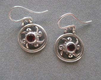 Sterling Silver Circle Swirl Garnet Earrings, January Birthstone #ER58SSG