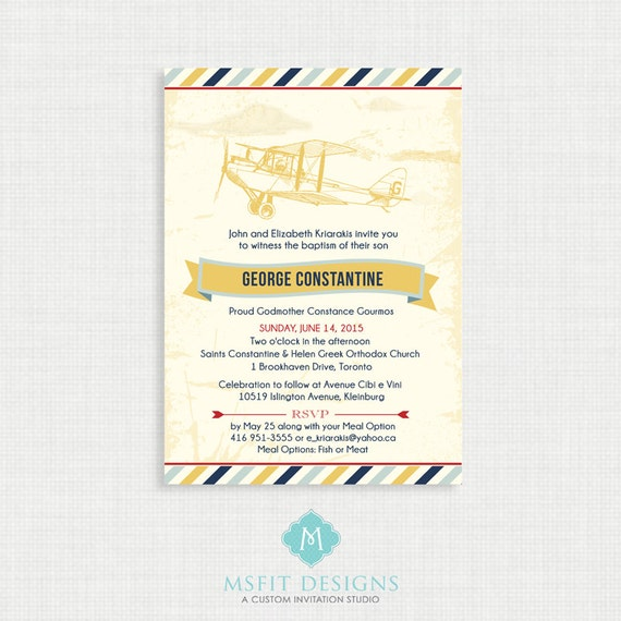 Printable Baptism Invitation- Vintage Airplane - DIY Printable Invite - Christening, First Communion, Dedication, Baby Blessing