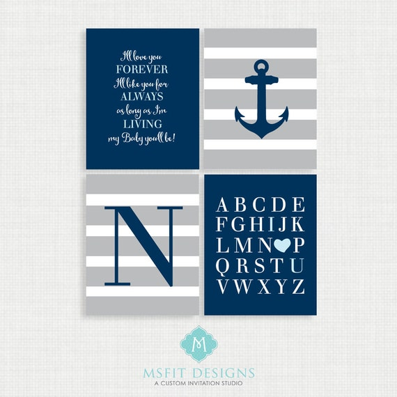 Baby Boy Nursery Art - Nautical Nursery Decor - Nautical Nursery Print -Nautical Nursery Art - Navy White Gray