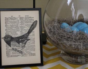 Vintage Dictionary Print, Vintage Bird Home Decor, Wall Print