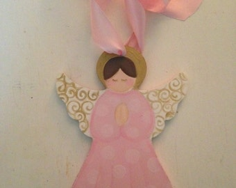Handpainted angel, personalized Christmas ornament, nursery decoration