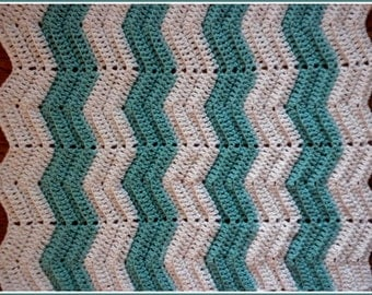 Handmade Crochet Minty Green/Blue/Aqua and White Baby Blanket