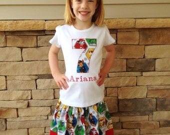 Girls Paw Patrol Birthday Party Outfit. Twirl Skirt with Matching Number Personalized Shirt. Nickelodeon Show Theme Gift, Toddler, Baby, Kid