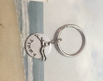 MEN'S SWIMMER keychain - personalized hand stamped to order - man's swimmer keyring