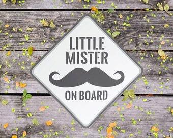 Little Mister on Board - Moustache Car Sticker (Baby on Board)