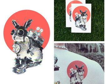 Steampunk Time Travel Bunny Rabbit Goggles Boots Clock Temporary Tattoo (Set of 2)