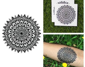 Intricate Flower Mandala Symmetrical Henna Detailed Traditional Temporary Tattoo (Set of 2)