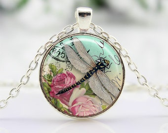 Dragonfly Cabochon Necklace Colourful Dragonfly Art Pendant Vintage Style Dragonfly Rose Necklace Dragonfly Pendant Necklace CN481