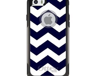 OtterBox Commuter for Apple iPhone 5S SE 5C 6 6S 7 8 PLUS X 10 - Custom Monogram - Any Colors - Navy Blue White Chevron Stripes