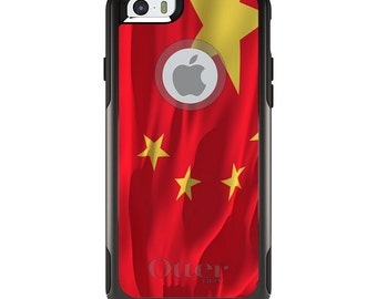 OtterBox Commuter for Apple iPhone 5S SE 5C 6 6S 7 8 PLUS X 10 - Custom Monogram - Any Colors - China Waving Flag Chinese
