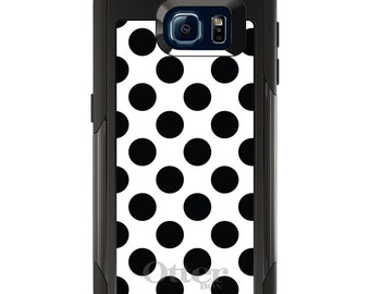 OtterBox Commuter for Galaxy S4 / S5 / S6 / S7 / S8 / S8+ / Note 4 5 8 - CUSTOM Monogram - Any Colors - Black & White Polka Dots