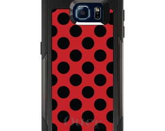 OtterBox Commuter for Galaxy S4 / S5 / S6 / S7 / S8 / S8+ / Note 4 / 5 - CUSTOM Monogram - Any Colors - Black & Red Polka Dots
