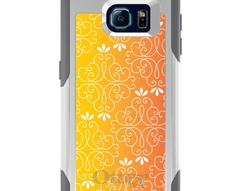 OtterBox Commuter for Galaxy S4 / S5 / S6 / S7 / S8 / S8+ / Note 4 5 8 - CUSTOM Monogram - Any Colors - Yellow Orange Red Gradient