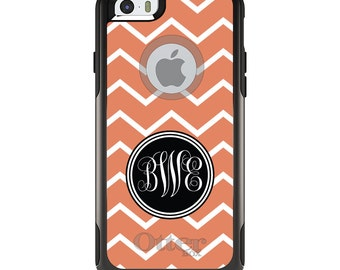 OtterBox Commuter for Apple iPhone 5S SE 5C 6 6S 7 8 PLUS X 10 - Custom Monogram or Image - Orange White Chevron Initials