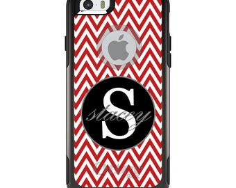 OtterBox Commuter for Apple iPhone 5S SE 5C 6 6S 7 8 PLUS X 10 - Custom Monogram or Image - Red White Chevron Gray